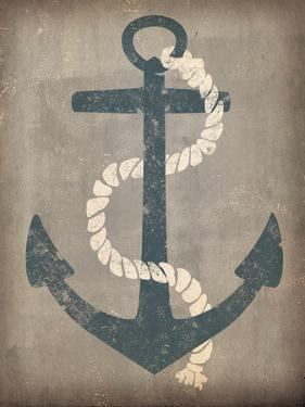Nautical Anchor Vertical Gray by Ryan Fowler