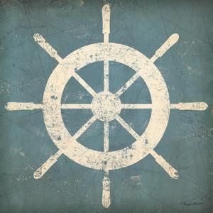 Nautical Shipwheel Blue by Ryan Fowler