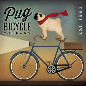 Pug on a Bike Indigo by Ryan Fowler