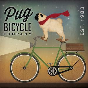 Pug on a Bike no Flowers by Ryan Fowler