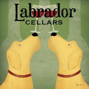 Two Labrador Wine Dogs Square by Ryan Fowler