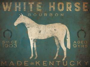 White Horse with Words Blue by Ryan Fowler