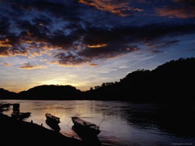 Boats on the Mekong River at Dusk, Luang Prabang, Laos