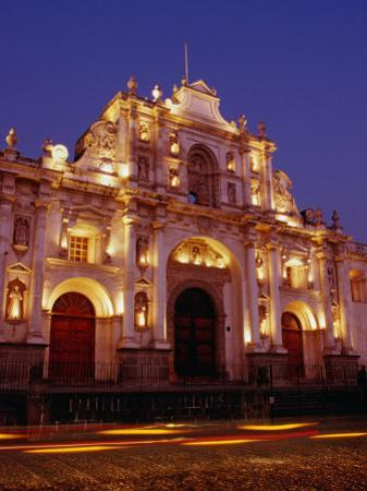 Facade of Cathedral De Santiago at Night, Antigua Guatemala, Guatemala