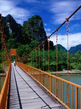 Footbridge Over Nam Sot River, Vang Vieng, Laos by Ryan Fox