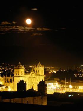 La Catedral on Plaza De Armas with Rising Moon, Cuzco, Peru by Ryan Fox