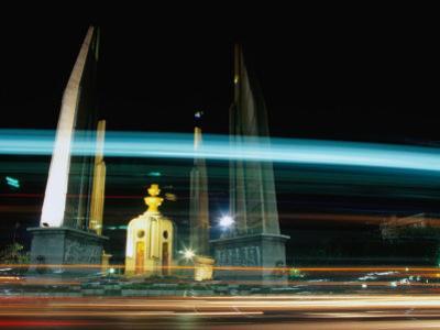 Moving Traffic at Democracy Monument, Bangkok, Thailand