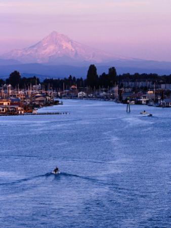 Mt. Hood and Columbia River from Jantzen Beach, Portland, USA