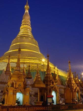 Schwedagon Pagoda Illuminated at Night, Yangon, Myanmar (Burma)