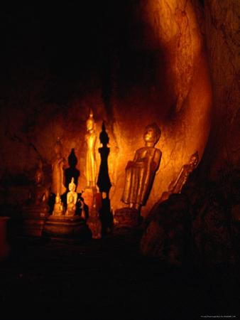 Standing Buddha Statues at Tham Phum Caves, Pak Ou Caves (Mouth of the Ou), Luang Prabang, Laos