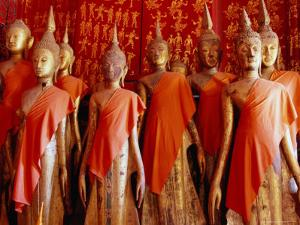 Statues Draped in Saffron in the Royal Funerary Carriage House at Wat Xieng Thong, Laos by Ryan Fox