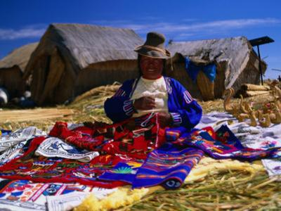 Traditionally Dressed Woman Knitting on Isla Flotantes