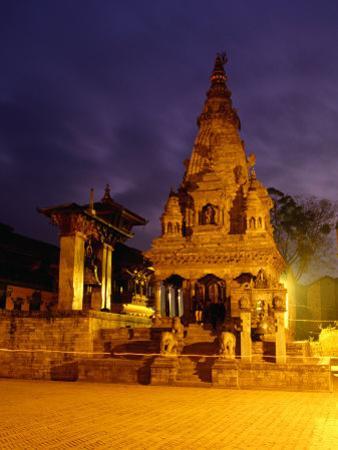 Vatsala Durga Temple on Durbar Square at Night, Bhaktapur, Nepal