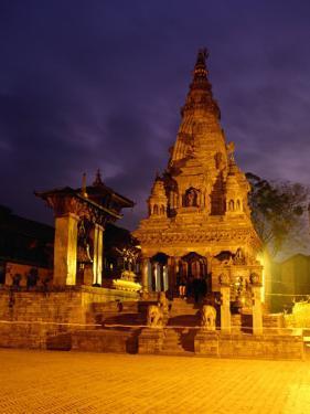 Vatsala Durga Temple on Durbar Square at Night, Bhaktapur, Nepal by Ryan Fox