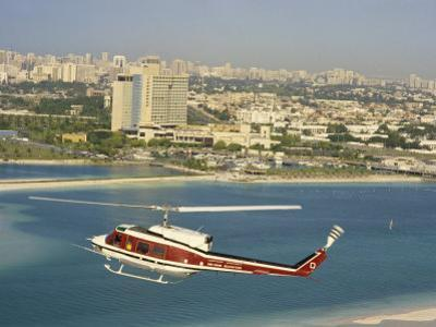 Helicopter over Abu Dhabi, U.A.E., Middle East