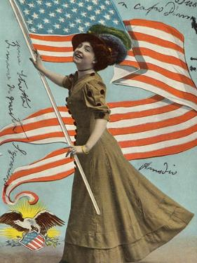 Postcard of Woman Waving American Flag by Rykoff Collection