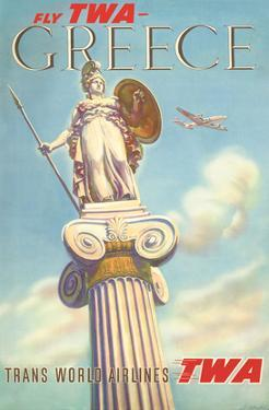 Greece - Fly TWA (Trans World Airlines) - Athena, Goddess of War by S. Almaliction