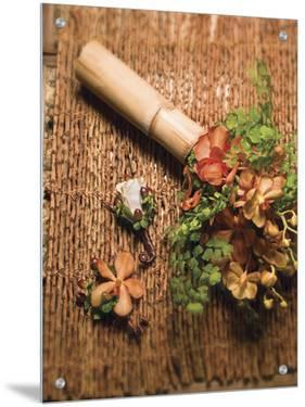 Flower Arrangement on Cane Mat by S.B.