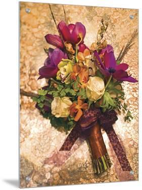 Flower Arrangement on Gold-Colored Table by S.B.