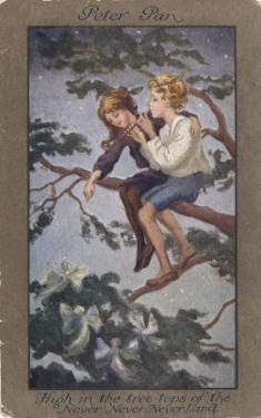 Peter Pan and Wendy Sit in a Treetop in Never-Never Land by S. Barham