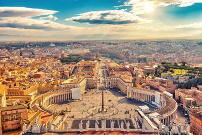 Saint Peter's Square in Vatican and Aerial View of Rome by S Borisov