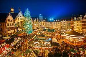 Traditional Christmas Market in the Historic Center of Frankfurt, Germany by S Borisov