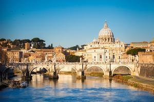 View at Tiber and St. Peter's Cathedral in Rome, Italy by S Borisov