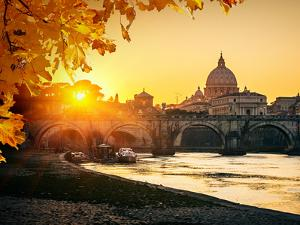 View at Tiber and St. Peter's Cathedral in Rome by S Borisov