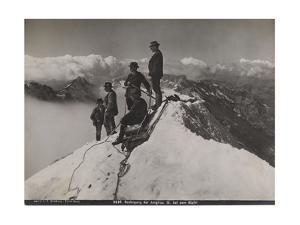 Jungfrau, Bernese Oberland, Switzerland. Climbers Rest and Observe the View from Summit of Jungfrau by S. G. Wehrli