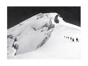 Mont Blanc, French Alps, France. Climbers Walk Down from Mont Blanc's Summit in Single File by S. G. Wehrli