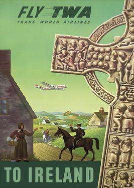 To Ireland - Fly TWA (Trans World Airlines) - Celtic Cross by S. Greco