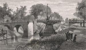 Swing Bridge on the Sodertelge Canal Sweden by S. Hallbeck
