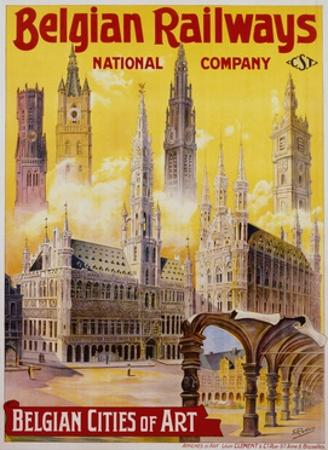 Belgian Railways - Belgian Cities of Art Poster by S. Rader