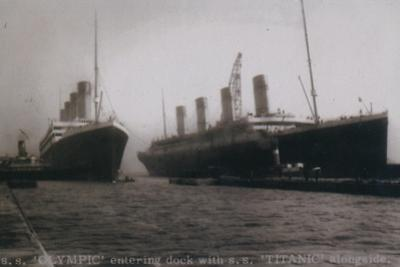 S.S. Olympic entering dock with S.S. Titanic alongside, 1912
