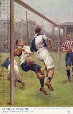 An Attacking Player Gives the Keeper a Firm Shoulder Barge Sending Him into His Own Net by S.t. Dadd