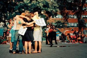 A Group of Young People Giving Free Hugs, Union Square, New York by Sabine Jacobs