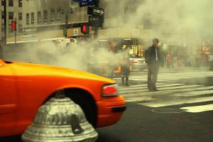 A Man Trying to Cross the Street in Midtown Manhattan, New York by Sabine Jacobs