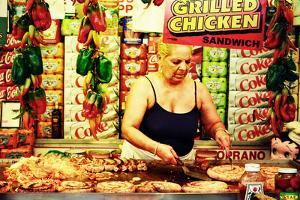 A Middle-Aged Italian Woman Cooking Different Meats and Sausages by Sabine Jacobs