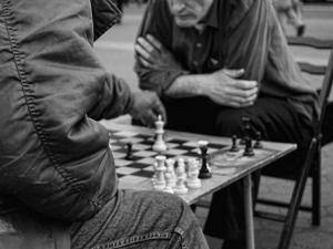 Chess Playing on Union Square, Manhattan, New York City by Sabine Jacobs