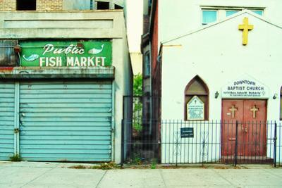 Fish Market and Baptist Church in Harlem, New York City