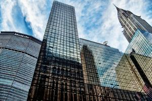 Met Life and Chrysler Buildings, New York City by Sabine Jacobs