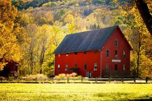 Red Barn and Autumn Foliage, Kent, Connecticut. by Sabine Jacobs