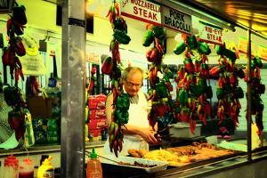 Street Vendor at a Market in Little Italy Selling Italian Specia by Sabine Jacobs