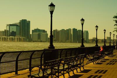 The Promenade in Lower Manhattan with New Jersey.