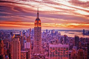 View from Rockefeller Center Towards Lower Manhattan in the Even by Sabine Jacobs