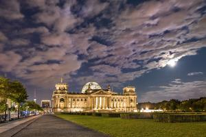 Full moon over the Reichstag, Berlin, Germany by Sabine Lubenow