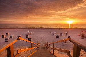 Sundown at Beach, Sylt Island, Northern Frisia, Schleswig-Holstein, Germany by Sabine Lubenow