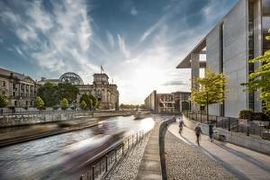 Sunset at Reichstag and River Spree, Berlin, Germany by Sabine Lubenow