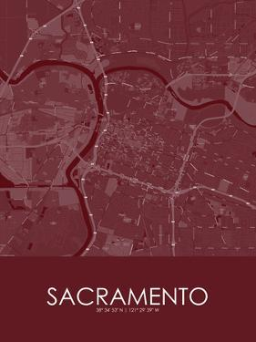 Sacramento, United States of America Red Map