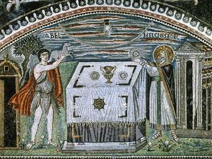 Sacrifice of Abel and Melchizedek (538-545 Ad). Basilica of St. Vitale. Ravenna. Italy